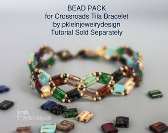 BB-43 Mixed Picasso BEAD PACk for Tila Crossroads Bracelet - Tutorial by Pamela Klein Sold Separately, Bead Pack BB43 Picasso Tila Crossroad