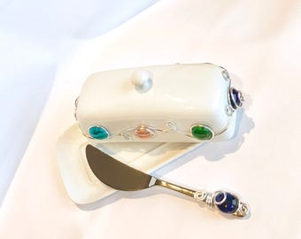 Ceramic Butter Dish with Spreader, Ceramic Butter Dish, Wire Wrapped, Kitchen & Dining, Butter Dish with Handle, Beaded Butter Dish