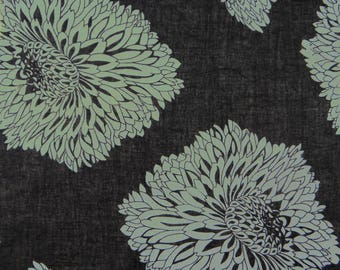 """Black Cotton Fabric, Floral Print, Upholstery Fabric, Dress Material, Craft Fabric, 45"""" Inch Quilting Fabric By The Yard ZBC7532A"""