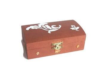 Small baroque jewelry box brown orange