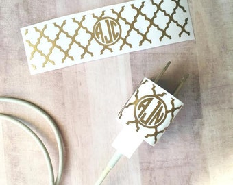 Monogram iPhone Charger Decal