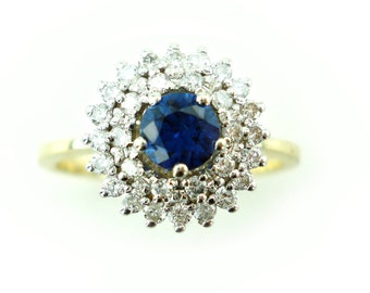 Sapphire Engagement Ring, Unique Engagement Ring, Vintage, Antique, Sapphire and Diamond Ring, 14 Karat Bridal Ring, Fast Free Shipping