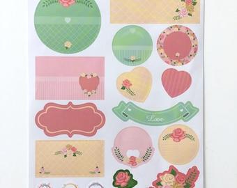 Pastel labels, floral stickers, pink labels, green labels, name labels, pink stickers, green stickers