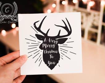 Christmas Reindeer card, christmas card, holiday card,template,christmas greeting card,printable,editable