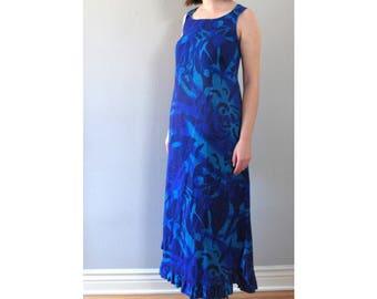 blue hawaii maxi dress - 70s vintage bright watercolor painterly tropical print long sleeveless waist tie tiki boho hippie muumuu - medium