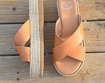 Espadrille Platform Sandals, Platform Greek Sandals, Greek Leather Sandals,  Criss Cross Sandals, Slip on platforms Wedges, Slides, Handmade
