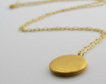 Raw Brass Locket Necklace, Long Necklace, Locket Charm, Brass Necklace