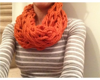 Arm Knitted Infinity Scarf. Fall Style. Pumpkin Spice. Handmade Fall Scarf. Winter Accessory. Halloween Wool Scarf. Gift For Her. Under 30.