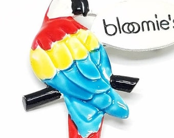 25% OFF SALE Bright Colorful Enamel Vintage PARROT Pin Red Blue Yellow says Bloomie's Vintage Brooch