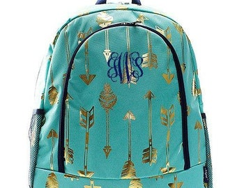 Monogrammed Backpack Personalized Gold Arrow Mint Backpack Personalized Backpack Kids Backpack Girls Backpack Boys Backpack