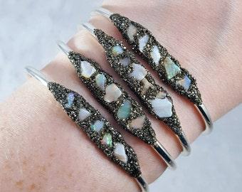 CRYSTAL CUFF BRACELET // Ethiopian Welo Opal ~ Crushed Pyrite Dust ~ October Birthstone ~ Gift For Her ~ Bridesmaid Boho Mermaid Flashy Opal