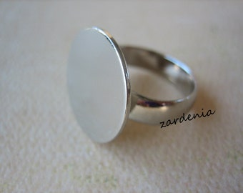 1PC - Brass Ring Blank - Silver Color - Front Adjustable - 18mm Pad