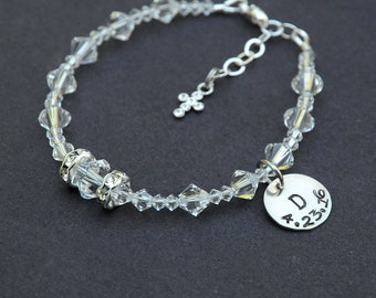 First Holy Communion Gift for Girls - Swarovksi Crystal Bracelet - Personalized with Date Option -Adjustable Sizing -Catholic Gift for Girls