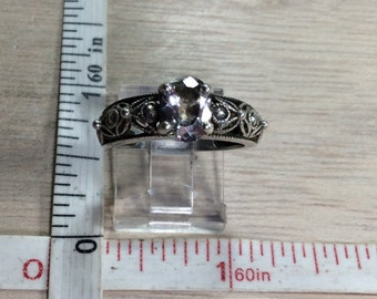 Vintage 925 Sterling Silver 3g Cz  Ring Size 7 Used