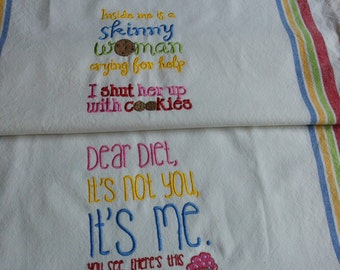 Diet Kitchen Towels Set Embroidery