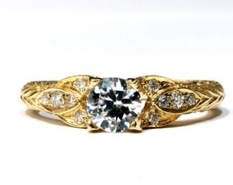 Antique Engagement Ring, Yellow gold Ring, diamond Ring, Prong Ring, Engagement Band, Bridal Jewelry, Gispandiamonds, Milgrain ring