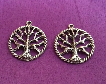 Tree of Knowledge Pewter Charms Silver