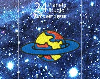 Blue Saturn Iron on Patch by 24PlanetsStudio