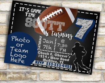 Football birthday party invitations for boy or girl football any age or any team with or without picture digital download