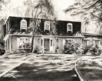 Custom HOUSE Drawing, CHARCOAL Drawing, Home, Landscape, Housewarming Gift, Special Gift, Birthday Gift, House Drawing, Family Gift