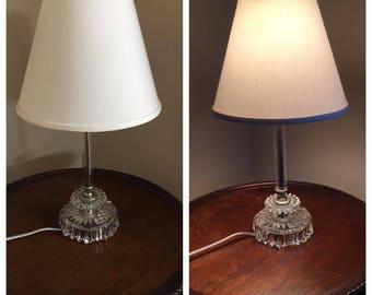 Vintage Glass Boudoir Candlestick Lamp