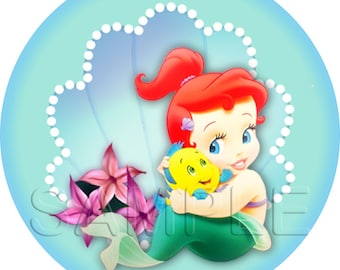 Disney Baby Princess Ariel - The Little Mermaid Stickers / Cupcake toppers - INSTANT DOWNLOAD - Stickers - Cupcake Toppers