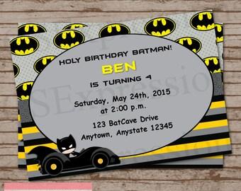 Bat Boy Birthday Party Invitation