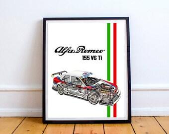 "Alfa Romeo Decor, Alfa Romeo 155, Printable Decor, Alfa Romeo, Instant Download, Wall Art, Garage Art, Classic Car Art, 8x10"", 14x11"""