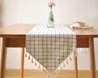 Blue grid Linen Table Runners,Simple linen table runners, Soft linen fabric