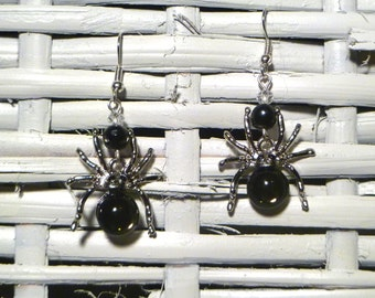 Spooky! Silver Plated Crystal Spider Earrings with Freshwater Black Tahitian Pearls - Perfect for Halloween