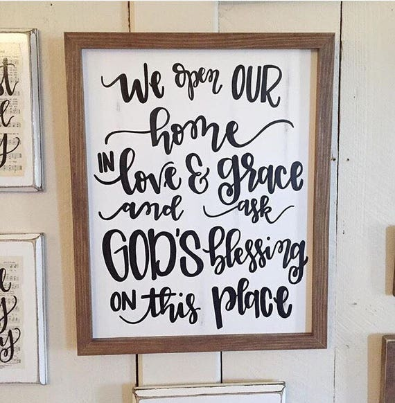 Wooden Signs Home Decor: Items Similar To We Open Our Home In Love And Grace