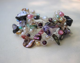 Pearl, Pearls, Bracelet, Multicolored, GORGEOUS, Silver, Freshwater Pearls, Blister Pearls, Dagger Pearls, 7 Strands of Beauty, Cluster, WOW