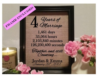 Framed 4th Anniversary Gift | 4th Wedding Anniversary Gifts | Personalized 4th Anniversary Gift | Anniversary Gift for Wife Husband