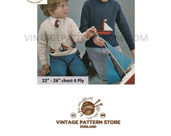 """Boys Girls 1970s, yacht boat motif, V or polo neck, sweater jumper in 4 Ply - 22"""" - 26"""" chest - Vintage PDF Knitting Pattern 1691"""