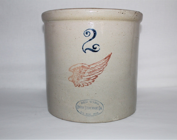 """Antique Red Wing Union Stoneware Company Two Gallon Crock 4"""" Red Wing Pottery Logo"""