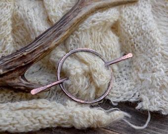 Copper hair pin, hair pin, spiral hair pin, boho hair pin, copper pin, shawl pin, circle shawl pin, circle hair stick, copper hair stick