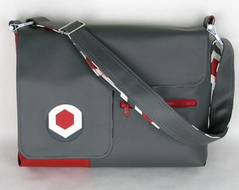 Vegan Laptop Bag Slate and Cherry Red, vinyl laptop bag