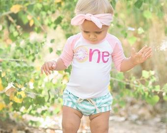 Pink Donut 'One' | Toddler Donut Pink and White Raglan T Shirt, Fringe Dress, Bodysuit, Flutter | First Birthday T Shirt | Donut Baseball T