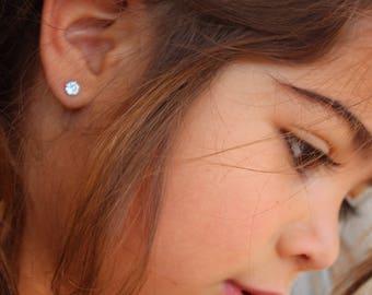 March Birthstone Gift, 4mm Aquamarine Stud Earrings, Sterling Silver, Round Cut Gemstone, March Birthday Gift