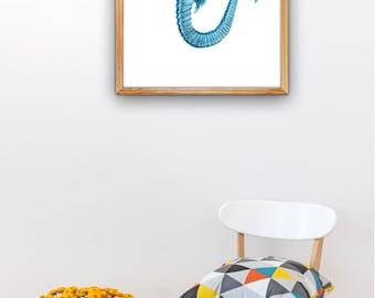 Sea horse in blue.Wall art poster print,  Wall decor A3 plus  poster,Wall decor seahorse seaside art, beach house SAS253A3P
