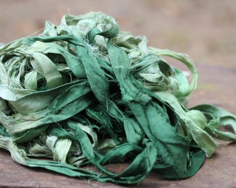 Recycled Sari silk ribbon - More Green 116