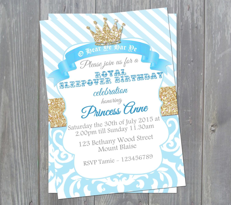 Royal princess invitation princess party invitations blue and