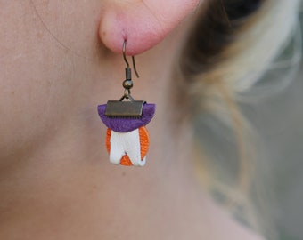 Leather, re-use and exotic leather woman earrings