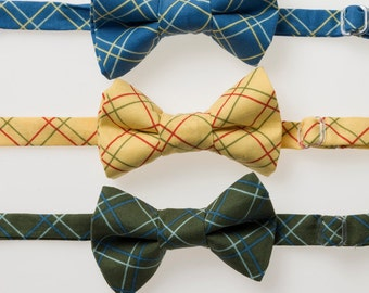 Little Boy Bow Tie - Blue, Yellow, or Green Plaid