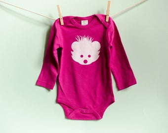 Organic Cotton Hedgehog Onesie Long Sleeve in Pink with White / 3-6, 12-18 Months