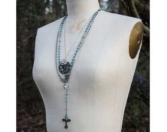 ANTIQUE ITALIAN ROSARY, blue glass beads - and vintage religious medal assemblage necklace