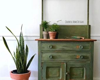 Antique Washstand, Painted Washstand, Farmhouse Washstand, Vintage Washstand, Green Washstand, Vintage Cupboard, Pick Up Only