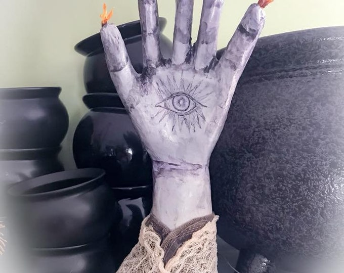 Featured listing image: Magical Eye in Hand,Romantic Mystical Decor,Primitive Decorative Magical Hand, Hand of Glory Decoration, Power Hand magical decoration