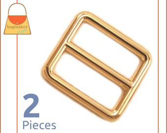 "One Inch Slide for Purse Straps, Shiny Gold Finish, 2 Pieces, Handbag Purse Bag Making Hardware Supplies, 1 Inch, 1"", BKS-AA016"