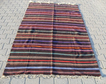 kilim rug free shipping VINTAGE TURKİSH blackgoats kilim Anatolian handwoven kilim decorative kilim - SİZE : 58'' X 100'' ( 145 cm X 250 cm)